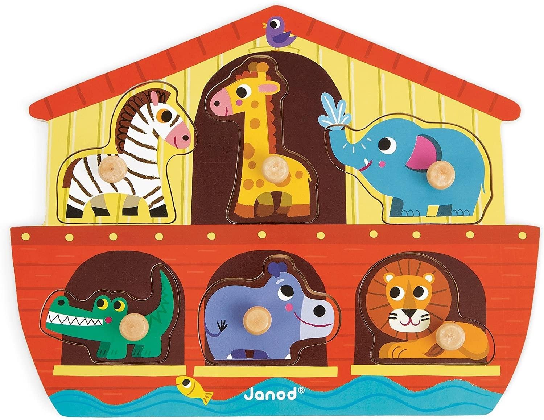 Janod J07062 Wooden Tenon Puzzles 6 pieces, Noah's Ark