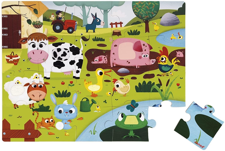 Janod J02772 Tactile Puzzle 20 pieces, Farm Animals