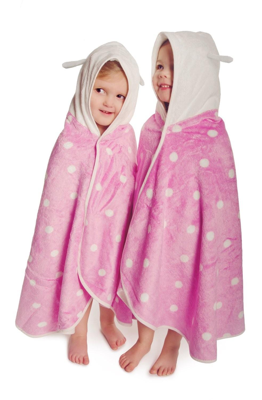 Cuddledry cuddlebug soft pink  polkadot toddler towel
