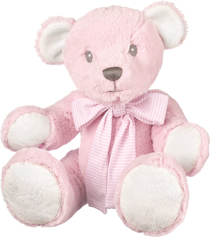 Suki Baby Hug-a-Boo Super Soft Plush Bear with Striped Cotton Bow (Large, Pink)