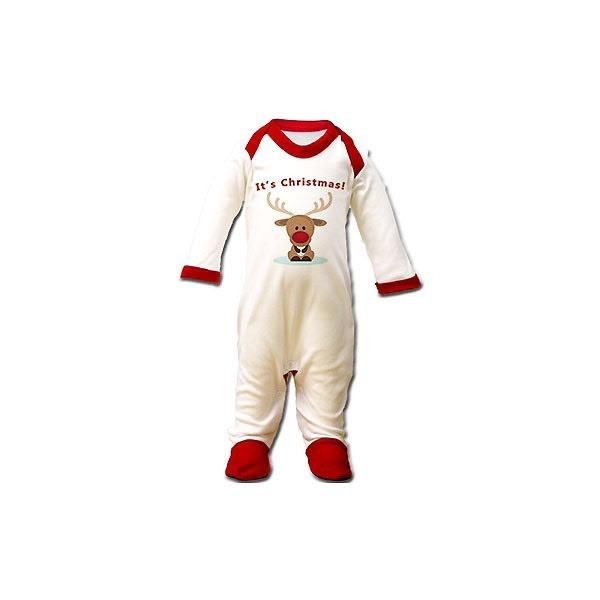 'It's Christmas' Reindeer Design Sleepsuit 3-6 months