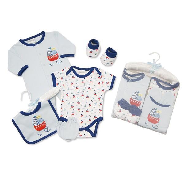 Baby Boy's Ship Nautical Theme 5 Piece Layette Gift  Set