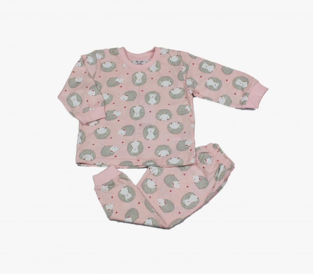 "Pyjama set with printed ""Hedgehog"" design. Three sizes for girls aged 12 to 24 months"