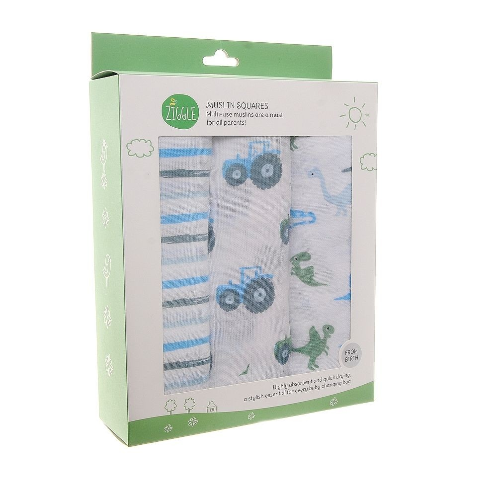 Box of Three Muslins By Ziggle - Three Colour Options