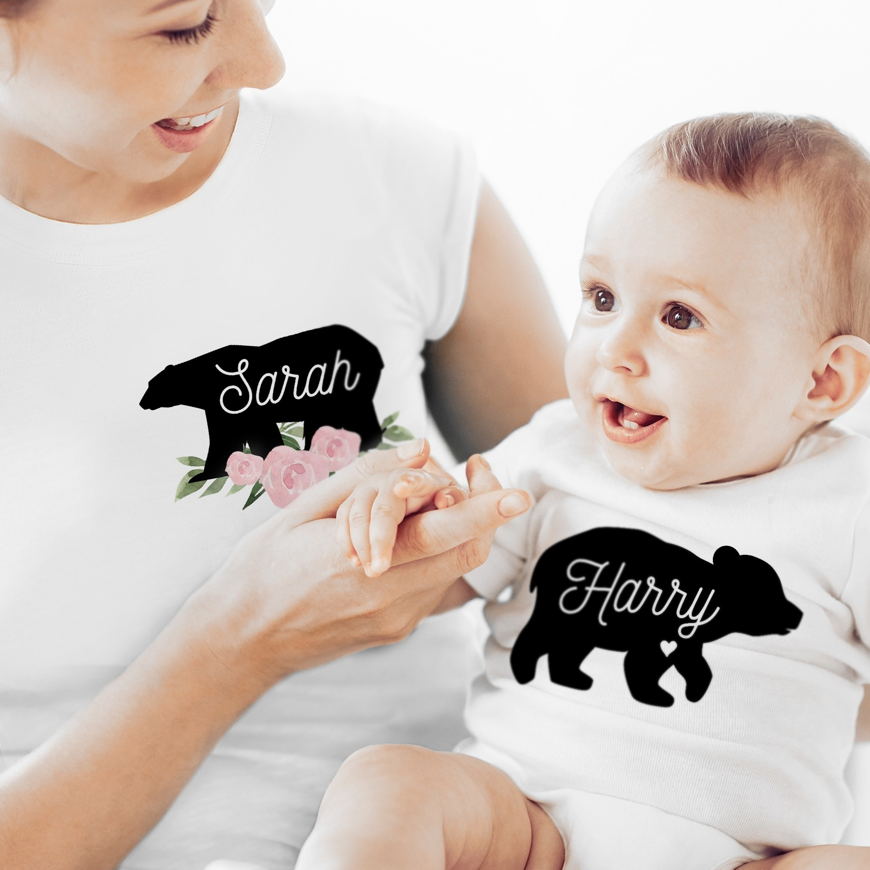 Personalised Mother & Baby Mama Bear T-Shirt And Vest Set -Four T shirts sizes