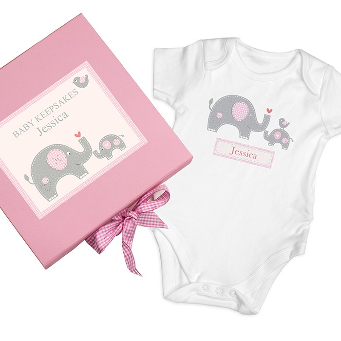 Pink Elephant Gift box and Baby Vest Personalised