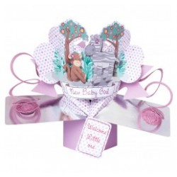 3D POP UP CARD JUNGLE FRIENDS BABY GIRL/BABY BOY