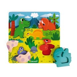 Janod J07104 Wood Hide and Seek Dino Puzzle, 6 Pieces