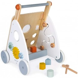 Janod Sweet Cocoon Multi Cart-Wooden Push-in Walking Trolley-9 Activities-Quiet Wheels, Water Based Paint-from 1 Year Old, J04410