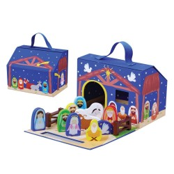 jumini Nativity Set, 18m, Fold Away Carry Case, Wooden, Hand Eye Coordination, Imagination, Toddler Toy