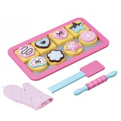 jumini Wooden Toy Baking Tray Set with Cookies and Accessories