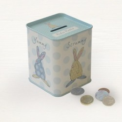 Rufus Rabbit Money Tin Newborn Gift Pink or Blue