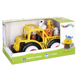 VIKING TOYS Classic – JUMBO – Safari Truck with Guide and Animals in Presentation Box 1 year+