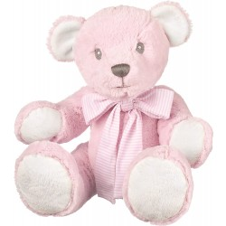 Suki Baby Hug-a-Boo Super Soft Plush Bear with Striped Cotton Bow (Large, Pink)