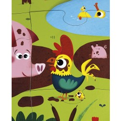 Janod J02772 Tactile Puzzle 20 pieces, Farm Animals