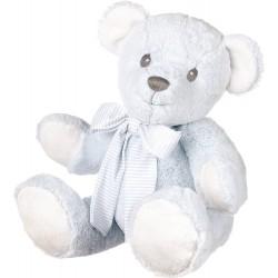 Suki Baby Hug-a-Boo Super Soft Plush Bear with Striped Cotton Bow (Medium, Blue)