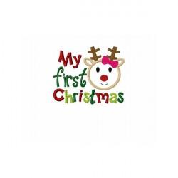 My First Christmas Reindeer Design Short Sleeved Bodysuit 0-3 months