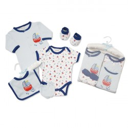 Baby Boy's Ship Nautical Theme 5 Piece Layette Gift  Set