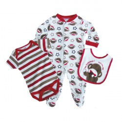 Little Monkey 3 Piece Layette Set 2 colours 2 sizes