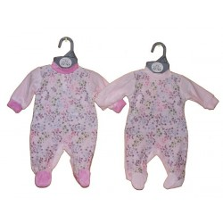 Velour All in One With Flower Pattern And Pink Trim