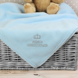 Personalised Prince (blue) or Princess (pink) Baby Blanket