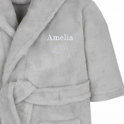 Personalised 0-6 Months Grey Bear Ears Hooded Baby Dressing Gown
