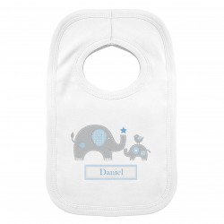 Personalised  Elephant 0-3 Months Baby Bib Pink or Blue