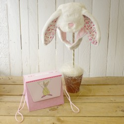 Rufus Rabbit  Fluffy Baby Bonnet In Gift Bag Pink or Blue