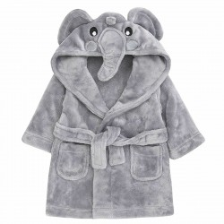 Soft Grey Elephant Dressing Gown for 6  - 24 months