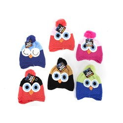 Hand Knitted Multicoloured Owl Hat  With Pom Poms For Children Aged 3 to 7